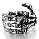 Amazon Price History for:INBLUE Men's Stainless Steel Ring Band Silver Tone Black Skull Hand Bone