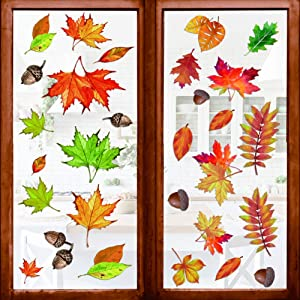 360 Pcs Fall Leaves Window Clings- 8 Sheet Large Thanksgiving Fall Maple Home Decorations- Autumn Fall Decals Party Decor Ornaments Supplies for Home, Thanksgiving Party Decorations