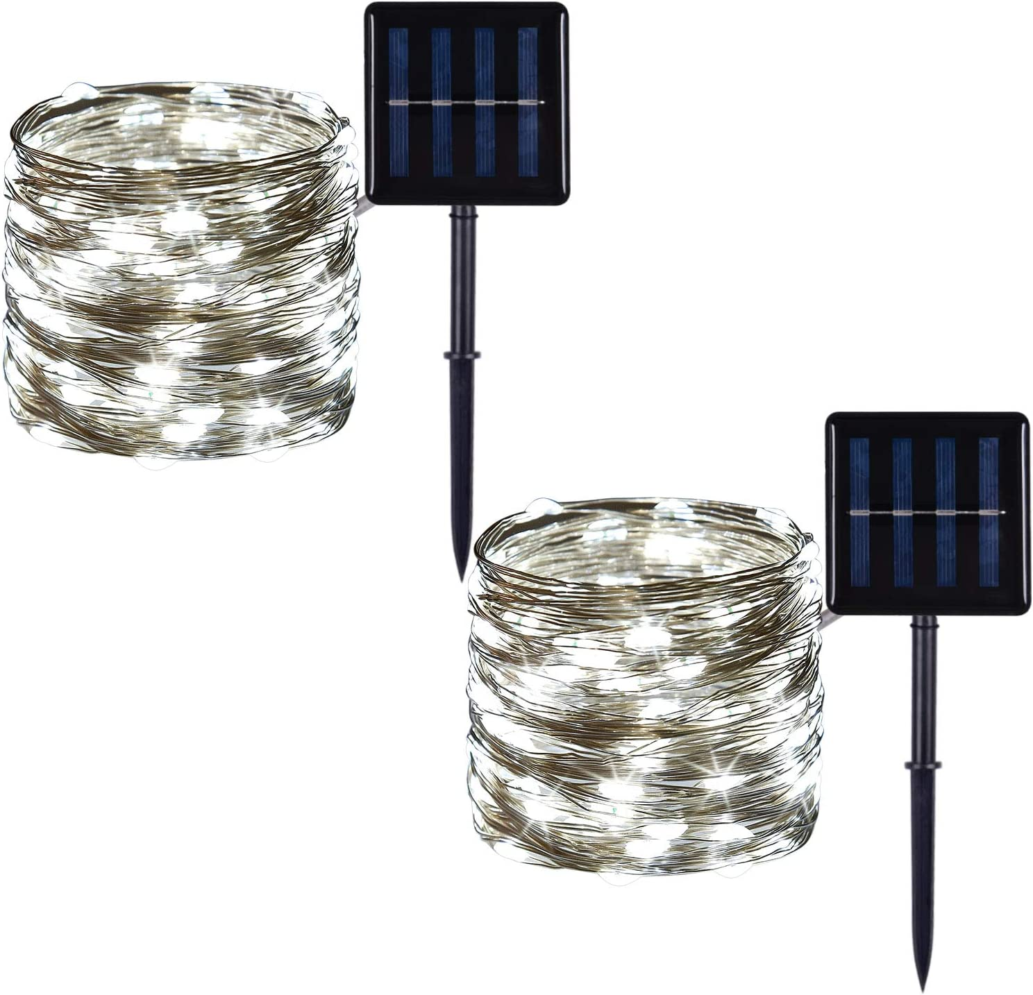 2 Pack 100 LED Solar Powered Copper Wire String Lights Outdoor, Waterproof, 8 Modes Fairy Lights for Garden, Patio, Party, Yard, Christmas (White)