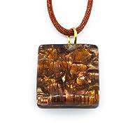 Cadeaux de Noël pour femme cadeaux de Noël pour femme–Pendentif en verre de Murano Millefiori sur feuille d'or avec boîte cadeau et 2cm x 2cm (Diana SML)