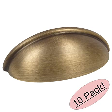 """Cosmas 783BAB Brushed Antique Brass Cabinet Hardware Bin Cup Drawer Cup Pull  - 3"""" Hole - Cosmas 783BAB Brushed Antique Brass Cabinet Hardware Bin Cup"""