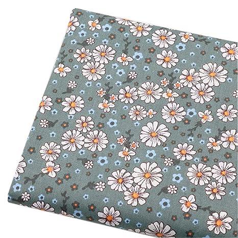 Tela de algodón verde oscuro con diseño floral para costura ...