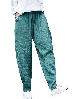 Femme Pantalon Lin Fashion Elégante Confortable Taille Élastique Pantalon  Sarouel Couleur Unie Style de fête Hippie d69a5a0e365