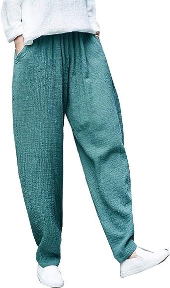 Femme Pantalon Lin Fashion Elégante Confortable