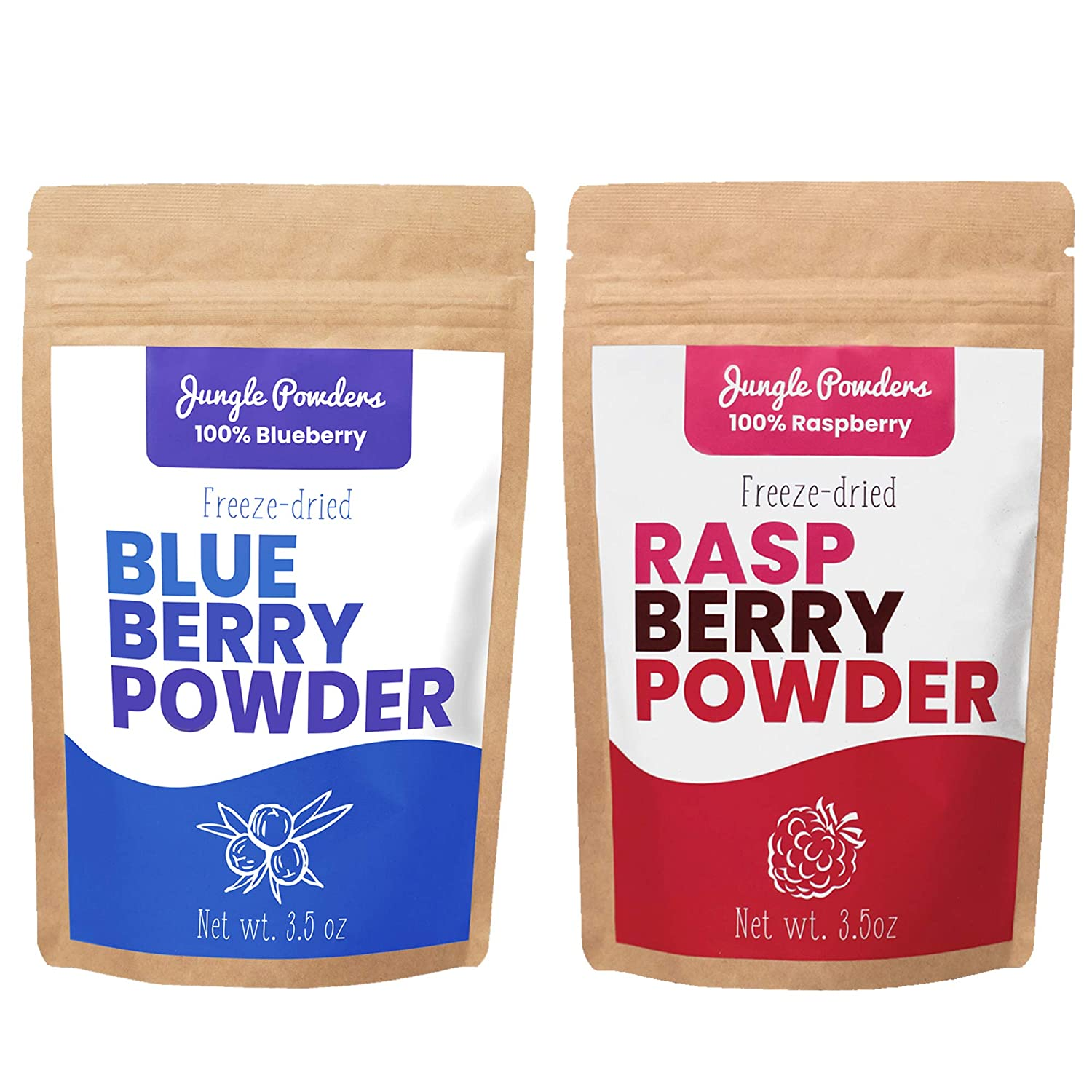 Jungle Powders Superfood Fruit Powder Bundle | Raspberry & Blueberry 100% Freeze Dried Fruit Powder Vegan Friendly Raspberry Extract | Natural Food Coloring Unsweetened Blueberry Superfood Powder