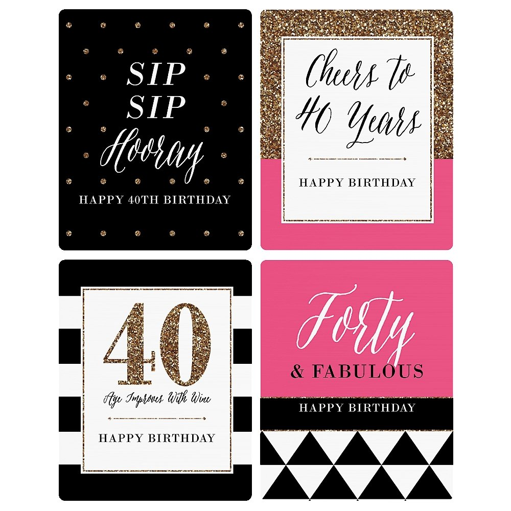 Chic 40th Birthday - Pink, Black and Gold - Birthday Gift For Women - Wine Bottle Label Stickers - Set of 4 by Big Dot of Happiness (Image #6)