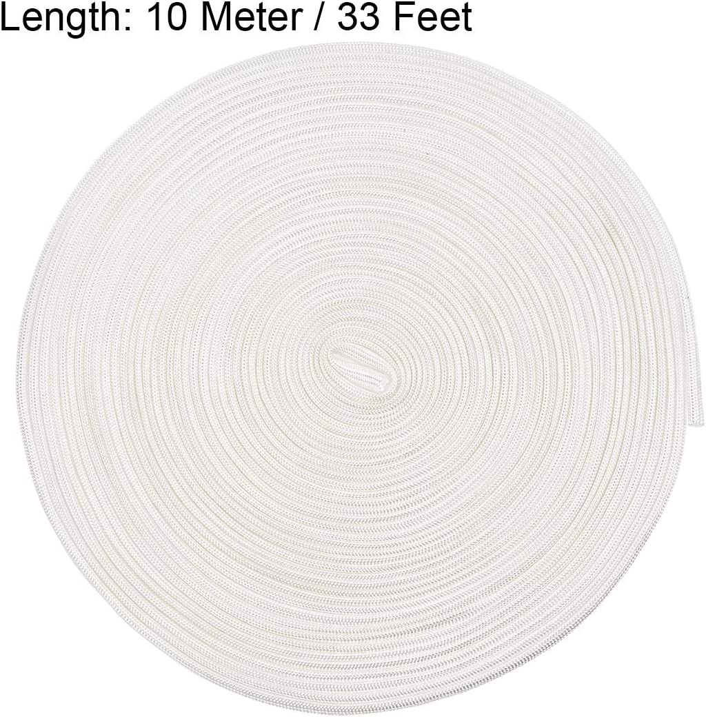 sourcing map Isolation Tresse Gaine 33Ft-3mm Haut TEMP Fibre de verre Manchon Blanc
