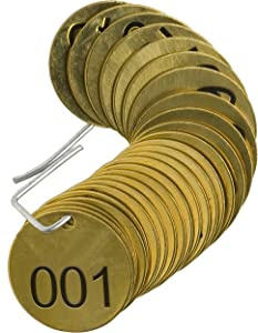 """Brady 23200 1-1/2"""" Diameter, B-907 Brass, Brass Color, Number Sequence 001-025 Round Stamped Brass Valve Tags, Top Line Legend (Blank) (Pack Of 25)"""