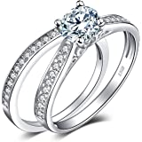 JewelryPalace 1.3ct Cubic Zirconia Anniversary Wedding Band Solitaire Engagement Ring Bridal Sets 925 Sterling Silver