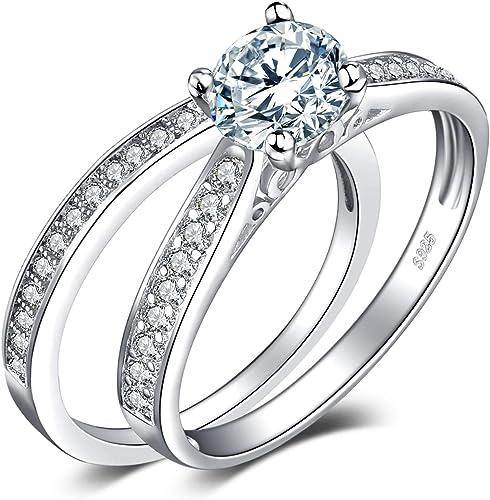 Wave Ring Véritable Argent Sterling 925 Saphir Bleu Zircone Cubique face hauteur 10 mm Cadeau