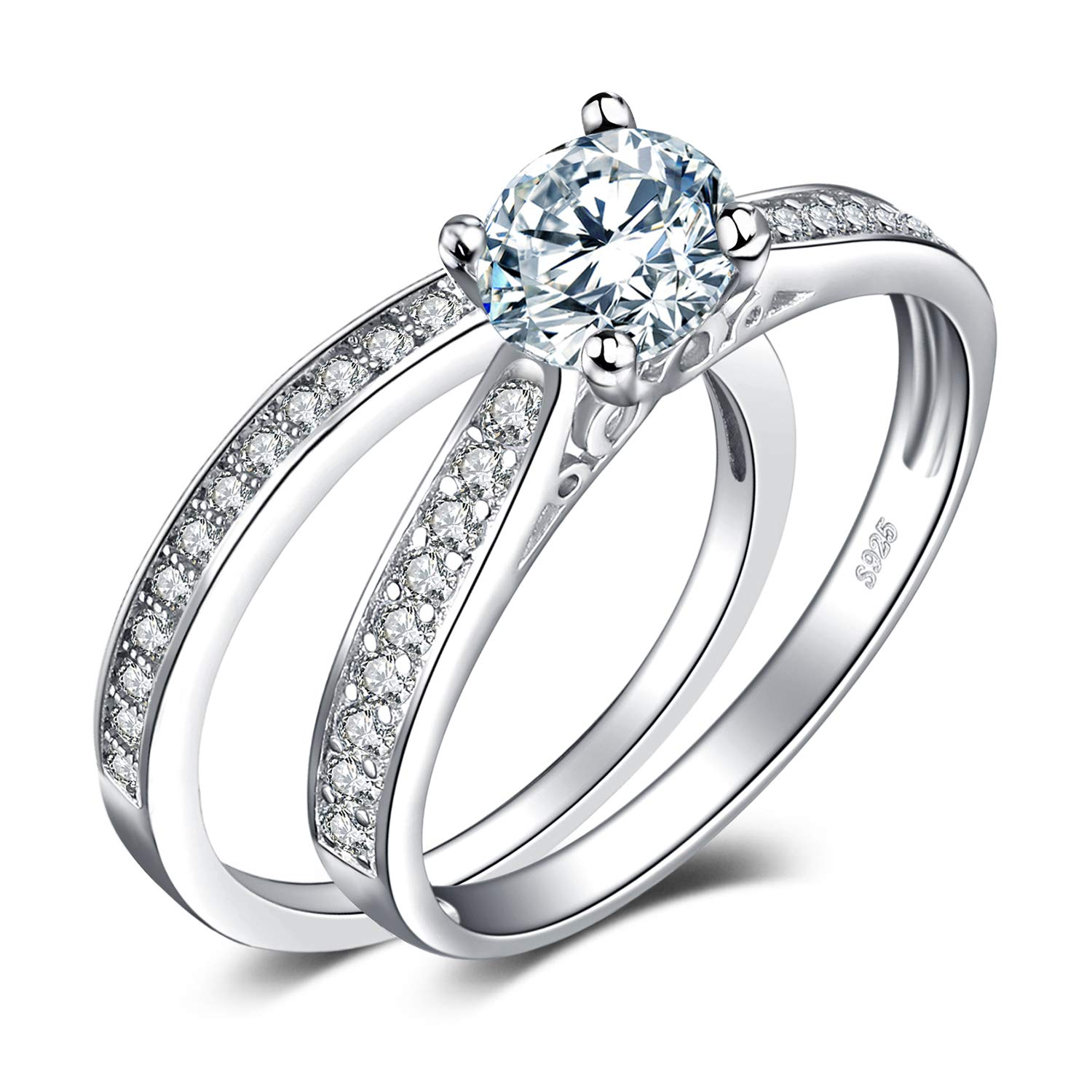 Engagement Ring And Wedding Band.Jewelrypalace 1 3ct Cubic Zirconia Anniversary Wedding Band Solitaire Engagement Ring Bridal Sets 925 Sterling Silver