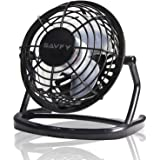 "SAVFY 4"" Portable Retro Mini Plastic USB Fan Silent Office / Home Light-Weight Desktop Fan Cooler For Laptop, NetBook, Computer and MacBook(Black)"
