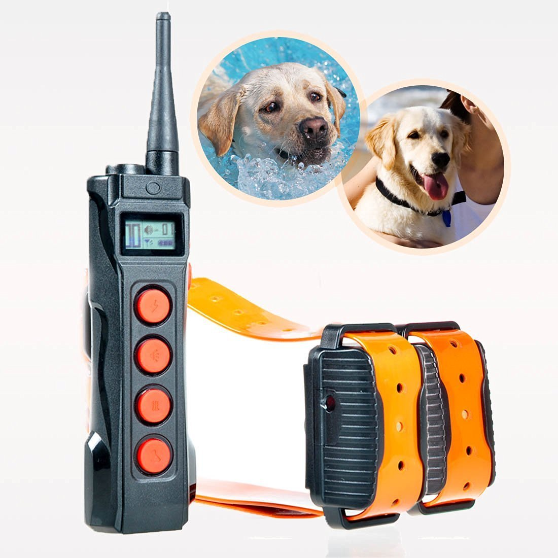 Aetertek Remote Dog Shock Collar 1 year warranty 1000M range 5 Modes (Shock, Light, Vibration , Beep & Auto anti bark) Safe For All Size Dogs Rechargeable & Waterproof trainer (For 2 dogs)