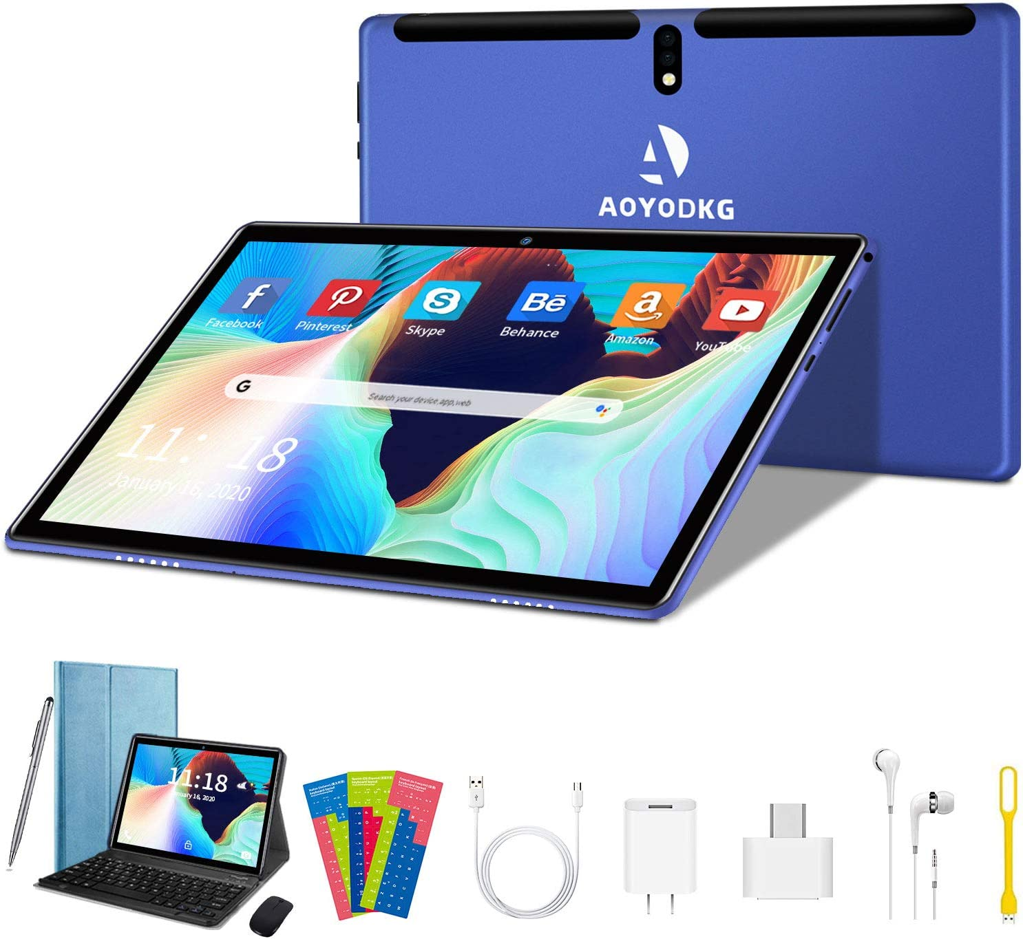 Tablet 2 in 1 Tablet PC MTK6580 Quad Core 1.3Ghz Processor, Android 9.0 (GO Editiom) Tablet, 10.1 inch HD (1280 x 800) IPS Display with Keyboard Case,Type-C,BT4.2,WiFi,64GB Storage- (Blue)