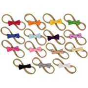 Fantastic Mini Bows on Nylon Baby Headbands For Newborn and Baby Girls 15 Pack