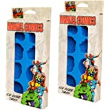 Marvel Avengers Ice Cube Tray Gift Bundle, Set of Two Blue Marvel Comics Reusable Ice Molds Silicone Trays, Makes 16 Ice Cubes in Captain America Shield, Iron Man Helmet, Thing, and Hulk Fist Shapes