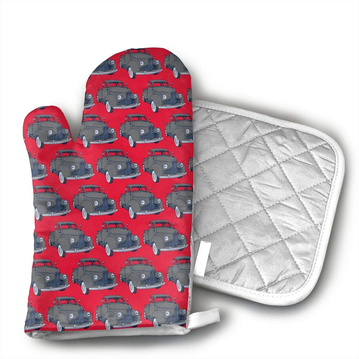 Star Blue Design Studebaker Truck Oven Mitts & Heat Resistant Pot Holder - with Polyester Cotton Non-Slip Grip, Best Used As Baking, Grilling, BBQ, Cooking, Kitchen Or Oven Gloves