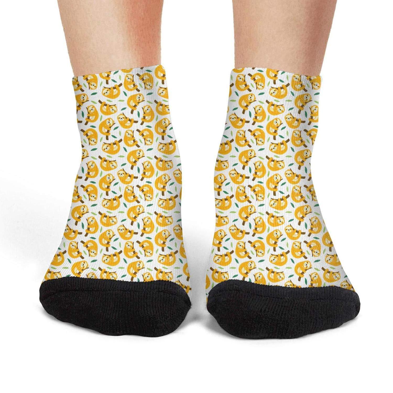 XIdan-die Womens Athletic Crew Socks sloth seamless pattern Moisture Wicking Casual Socks