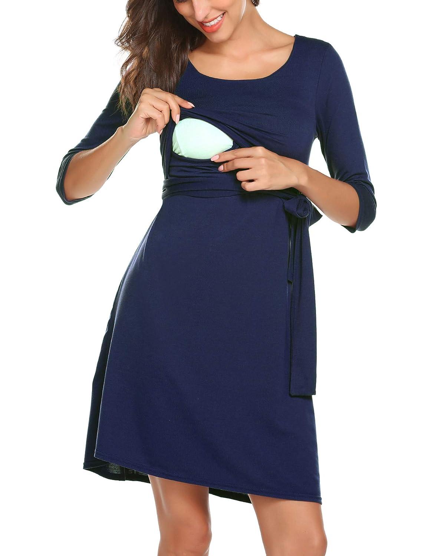 Vestito da maternità Donna per Allattamento Abito di maternità Abito di Gravidanza Scollo a V Elegante