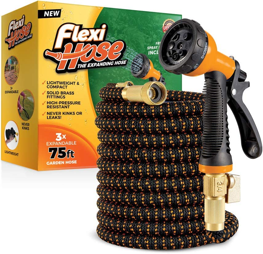 Flexi Hose with 8 Function Nozzle, 75 ft. Lightweight Expandable Garden Hose, No-Kink Flexibility, 3/4 Inch Solid Brass Fittings and Double Latex Core, Orange/Black