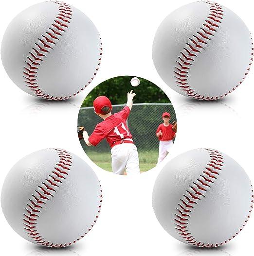 4 Pack Pelota de béisbol Cuero con Costuras Rojas, para jóvenes y ...