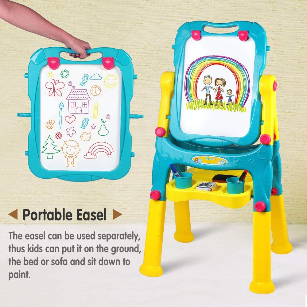 TikTakToo Tableau magn/étique r/églable en hauteur pour enfant