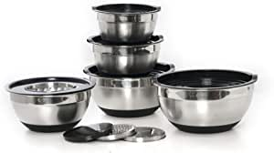 Pro-Mix Stainless Steel Mixing Bowls Set of 5, with Airtight Lids and 3 Different Kinds of Grater Attachment. Non Slip Silicone Base, Stackable Nesting Bowls to Keep Kitchen Clean and Organized.