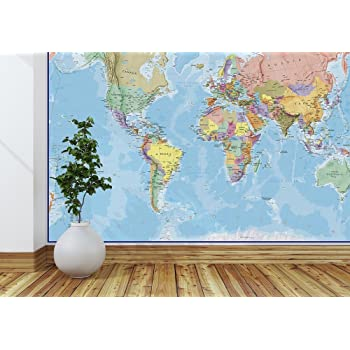 Amazon world map paper wall mural home kitchen maps international giant world map mural mega map of the world wallpaper 91 x 62 blue ocean gumiabroncs Choice Image