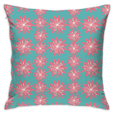 "VANMASS Outdoor Decor Germinating Plants Wildflowers Twigs Sprouts Buds Lively Rustic Patio Full Teal Pink White Sleep Throw Pillow Case Cushion Cover 18"" X 18"" 45cm X 45cm: Home & Kitchen"