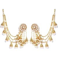 Zeneme Jewellery Traditional Stylish Gold Plated Polki & Pearl Bahubali Jhumki/Jhumka Earrings For Girls and Women