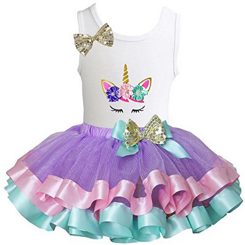Kirei Sui Girls Lavender Pastel Satin Trimmed Tutu & Birthday Floral Unicorn Tank Top DGUCFTST4A68GHB