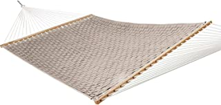 product image for Hatteras Hammocks Antique Beige Soft Weave Hammock with Free Extension Chains & Tree Hooks, Handcrafted in The USA, Accommodates 2 People, 450 LB Weight Capacity, 13 ft. x 55 in.