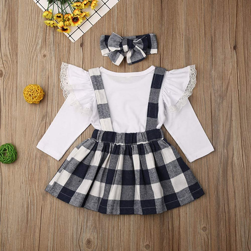 Toddler Kids Baby Girls Lace T Shirt Tops+Plaid Skirt Outfits Clothes 2pcs Set