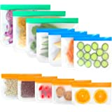 Reusable Snack & Sandwich Bags,Reusable Ziplock Storage Bags Freezer Safe, Extra Thick PEVA Material BPA/Plastic Free Bags fo
