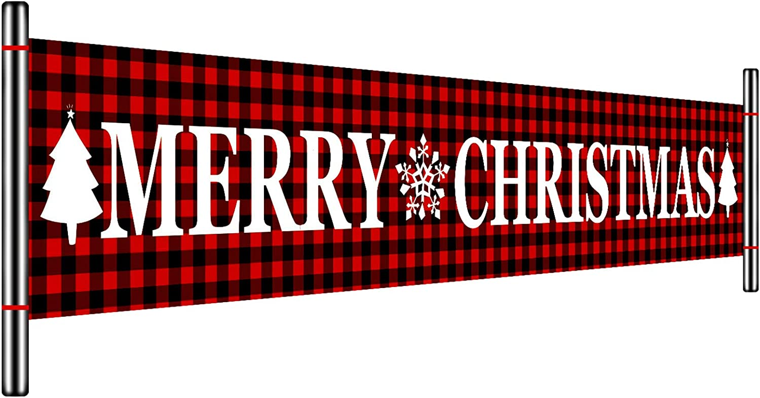 Huge Red Black Plaid Merry Christmas Banner Large Xmas Sign Decorations with Delicate Print for Xmas House Home Outdoor Party Decor, 9.8 x 1.6 Feet (Style Set 3)