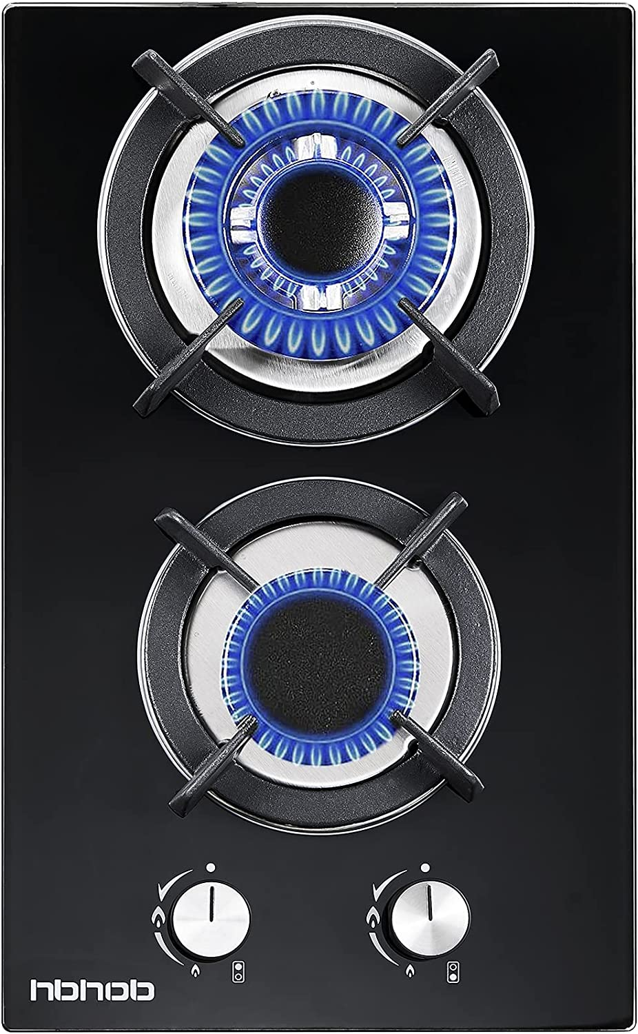 Gas Cooktop HBHOB Dual Fuel Sealed 2 Burners Gas Hob 12 Inch Tempered Glass Gas Cooker,Built-in Gas Stove Top Thermocouple Protection and Easy to Clean Black