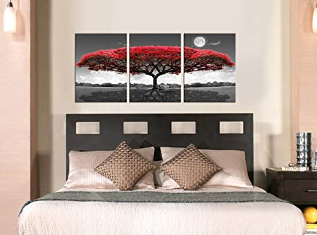 youkuart 3 Panel Wall Art red Tree for Living Room Decor and Modern Home Decorations Photo Prints 12x16inchx3 Wood Framed 12inchx16inchx3pcs, red Tree