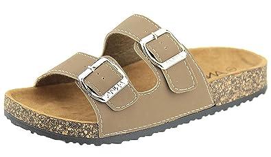 6d0ddfb83687 Anna Shoes Women s Strappy Buckle Cork Sole Slide Sandal (6 B(M) US