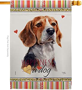 Breeze Decor Dog Beagle Hound Happiness House Flag Animals Puppy Spoiled Paw Canine Fur Pet Nature Farm Animal Creature Small Decorative Gift Yard Banner Double-Sided Made in USA 28 X 40