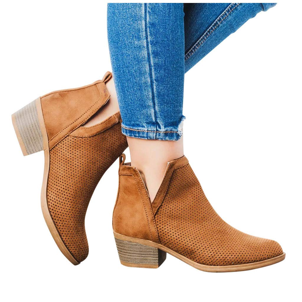 Women's Retro Boots Casual Slip-On Hollow Out Mid Heels Short Ankle Boots Classic PU Roman Shoes Booties 4.5-11.5 (US:10, Brown) by Aritone - Women Shoes