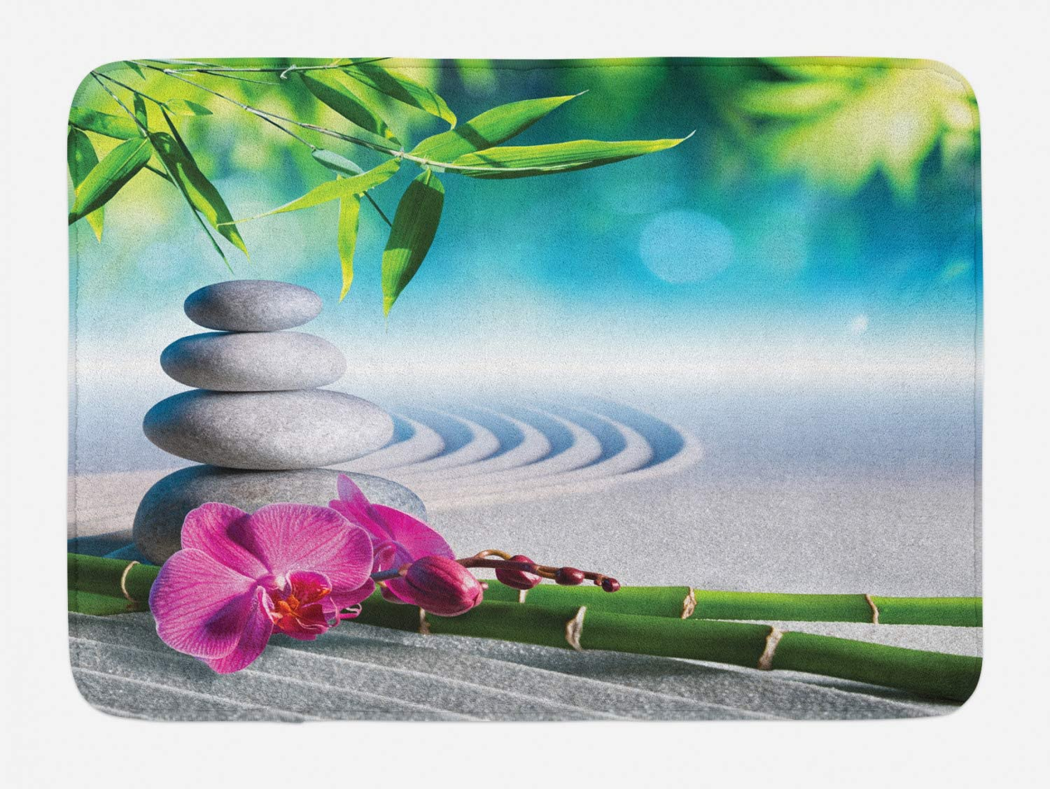 """Ambesonne Spa Bath Mat, Sand Orchid and Massage Stones in Garden Sunny Day Meditation Yoga, Plush Bathroom Decor Mat with Non Slip Backing, 29.5"""" X 17.5"""", Blue Gray"""