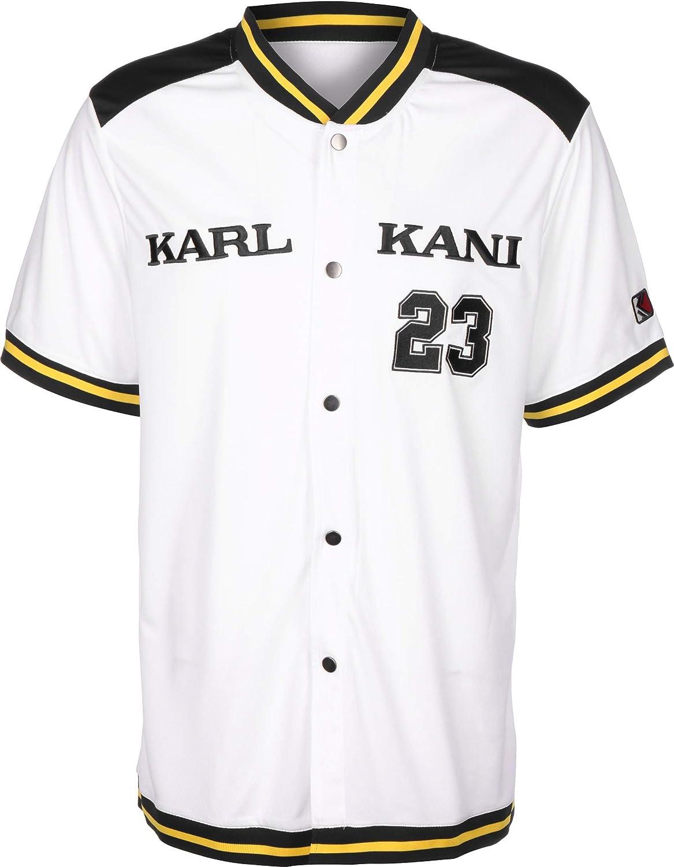 Karl Kani College Baseball Camisa de Manga Corta White/Navy/Yellow: Amazon.es: Ropa y accesorios