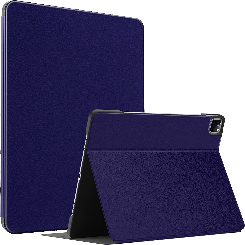Soke Case for New iPad Pro 12.9 5th Generation 2021, Slim Premium Leather Folio Stand Cover [2nd Gen Apple Pencil Charging+Auto Wake/Sleep], Hard PC Back Shell for Apple iPad Pro 12.9 Inch(Dark Blue)