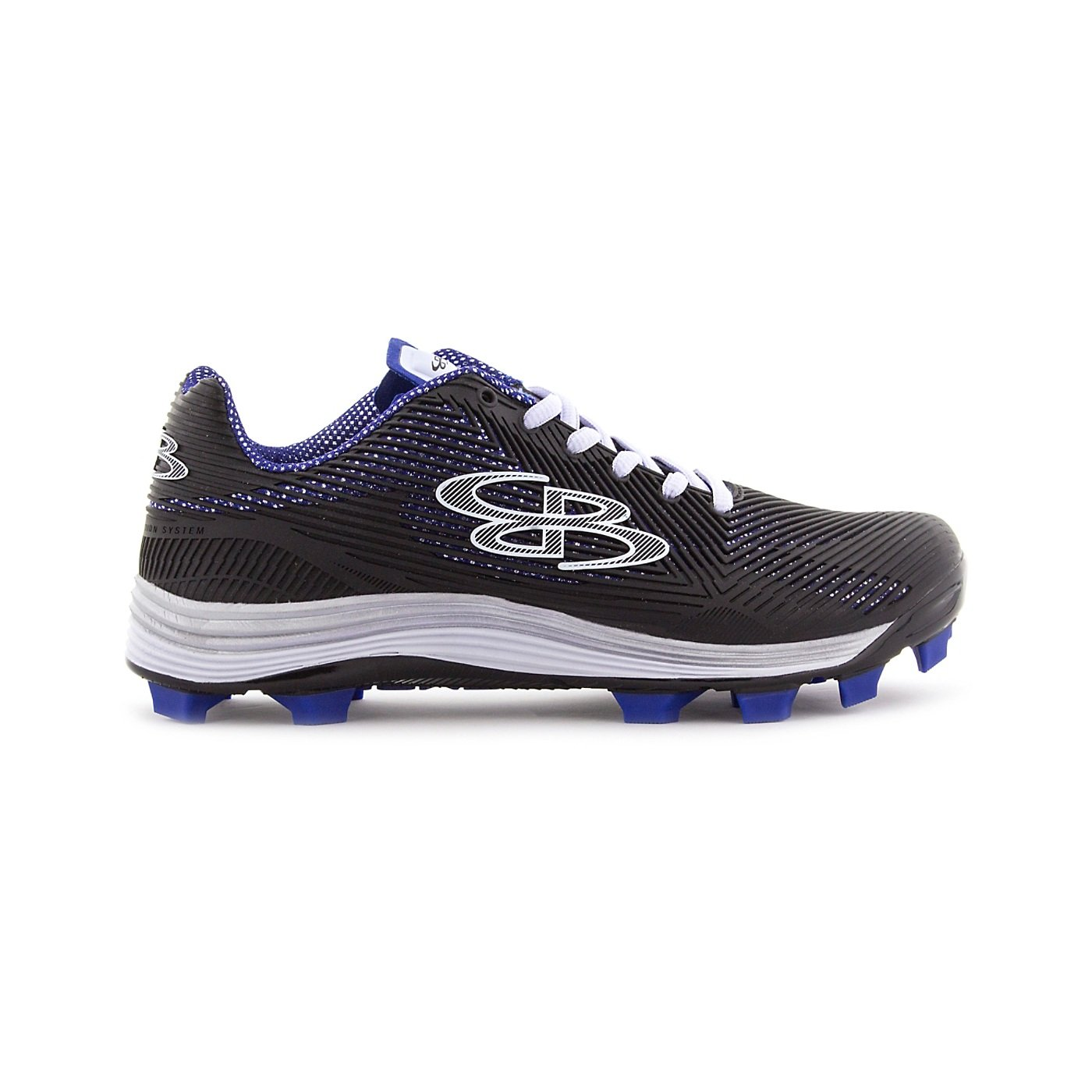 Boombah Women's Spotlight Molded Cleat Black/Royal Blue - Size 4.5 by Boombah