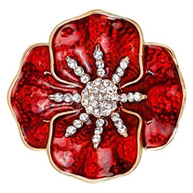 92f166ea7f7 FENGJI Vintage Poppy Red Rhinestones Flower Brooches for Women Rememberance  Jewellery Badge Brooch pins Red