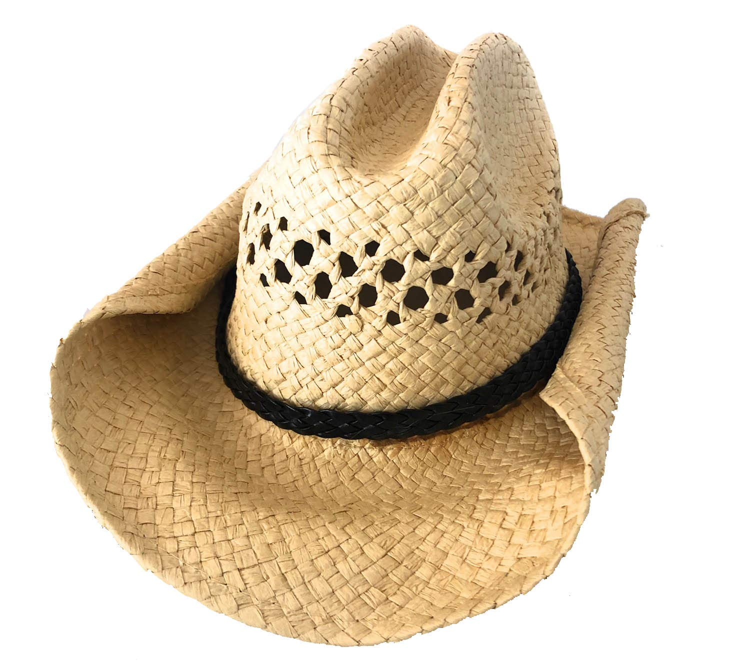 2 Pack of Rolled Up Western Cowboy Hats | Natural Straw & Soft Braided Brown Band
