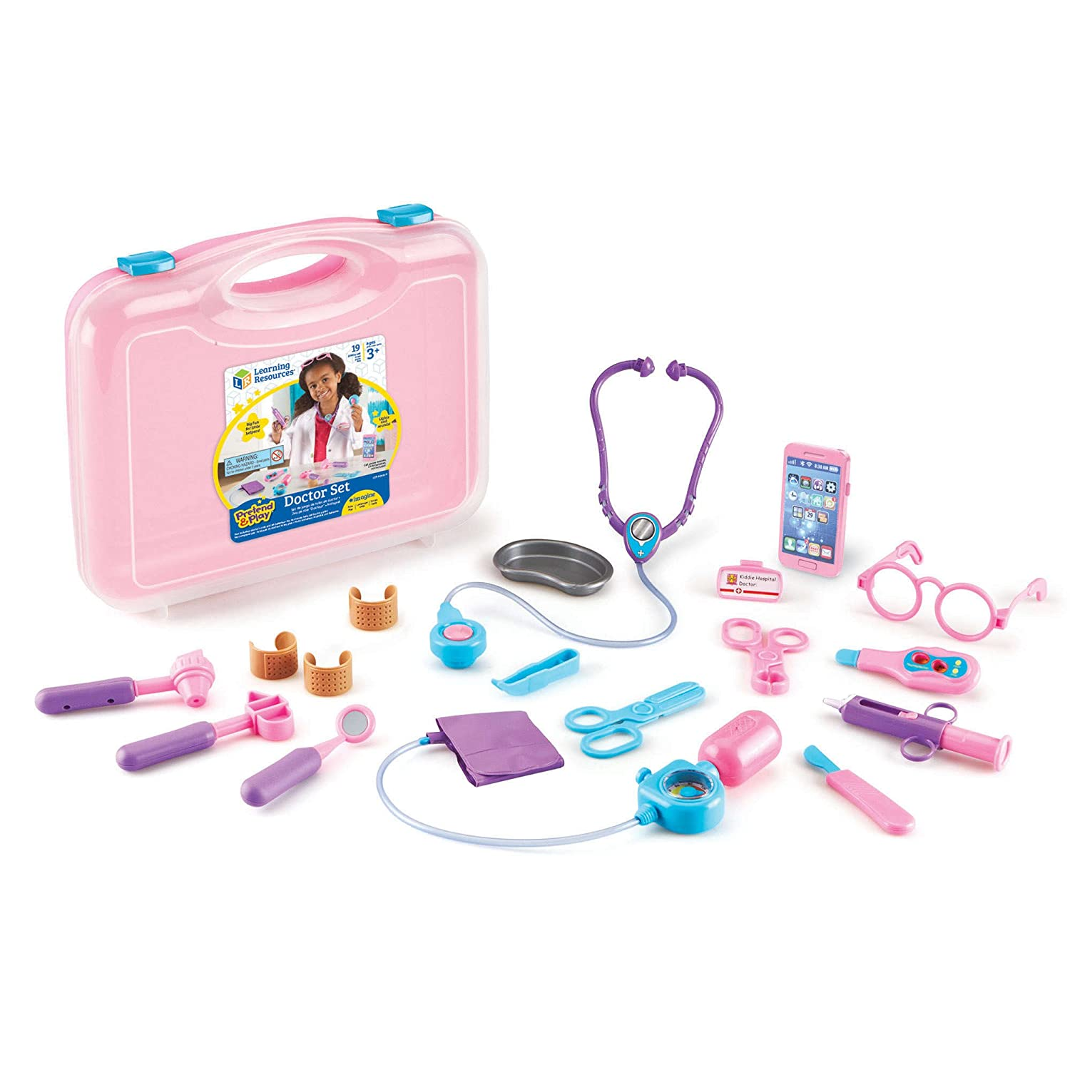 Learning Resources Pretend & Play Doctor Kit for Kids, 19 Piece set, Pink LER9048-P