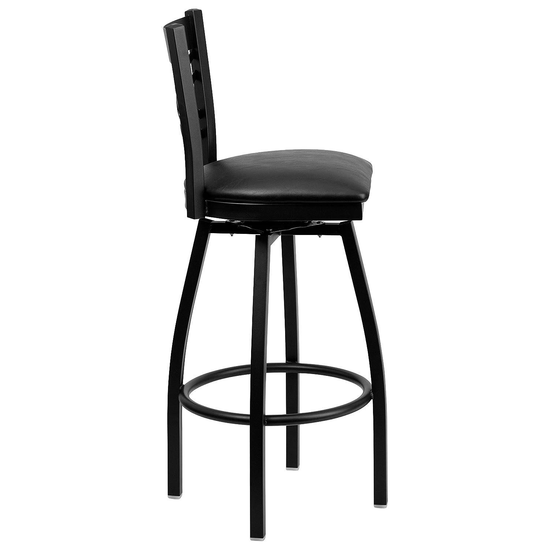 Flash Furniture HERCULES Series Black X Back Swivel Metal Barstool – Black Vinyl Seat