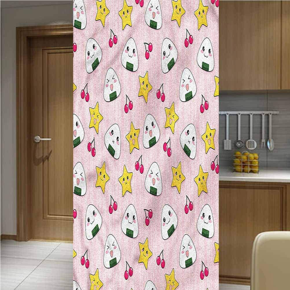 """ONE Piece Privacy Decorative Window Film Window Decols,Striped Cartoon Style Non-Adhesive Window Stickers Paint Frosted Static Cling Glass Decal,35.6""""x78.7"""",for Glass Door Home Heat Control Anti UV"""