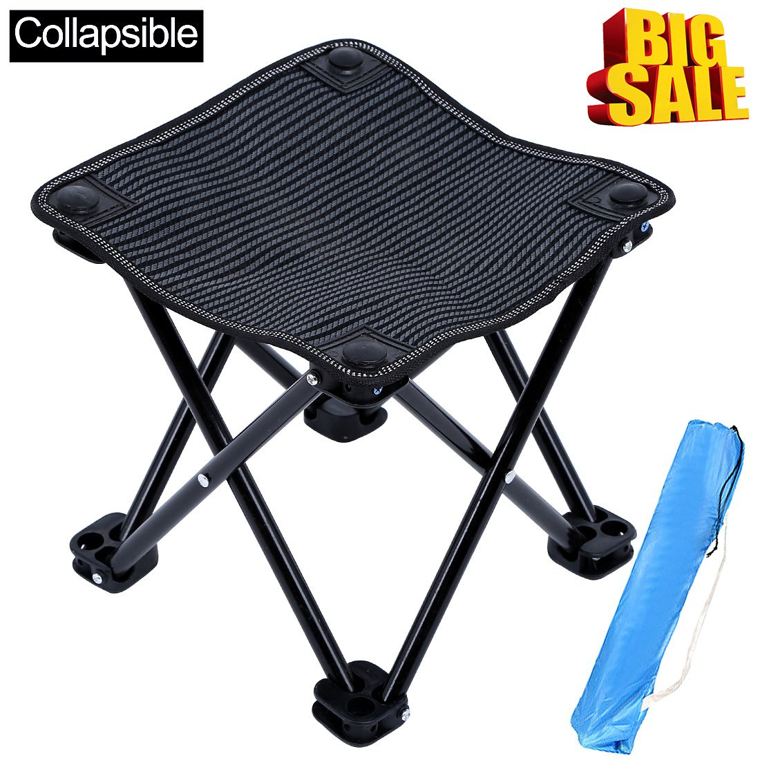 KAIYANG Mini Portable Camp Stool Folding Stool Chair Outdoor Carry Stool for Camping, Hiking, Fishing, Beach, Park with Carry Bag (Black)